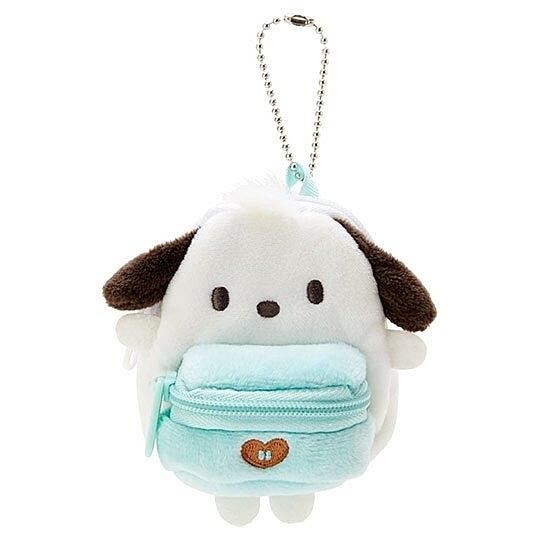 〔小禮堂〕帕恰狗 後背包造型絨毛吊飾零錢包《綠白》掛飾收納包.玩偶配件 4550337-30111