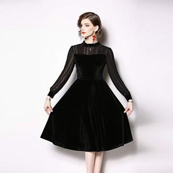 ドレス HYF金のベルベットカットシフォン長袖スリム・カラードレス (色 : Black, Size : M)