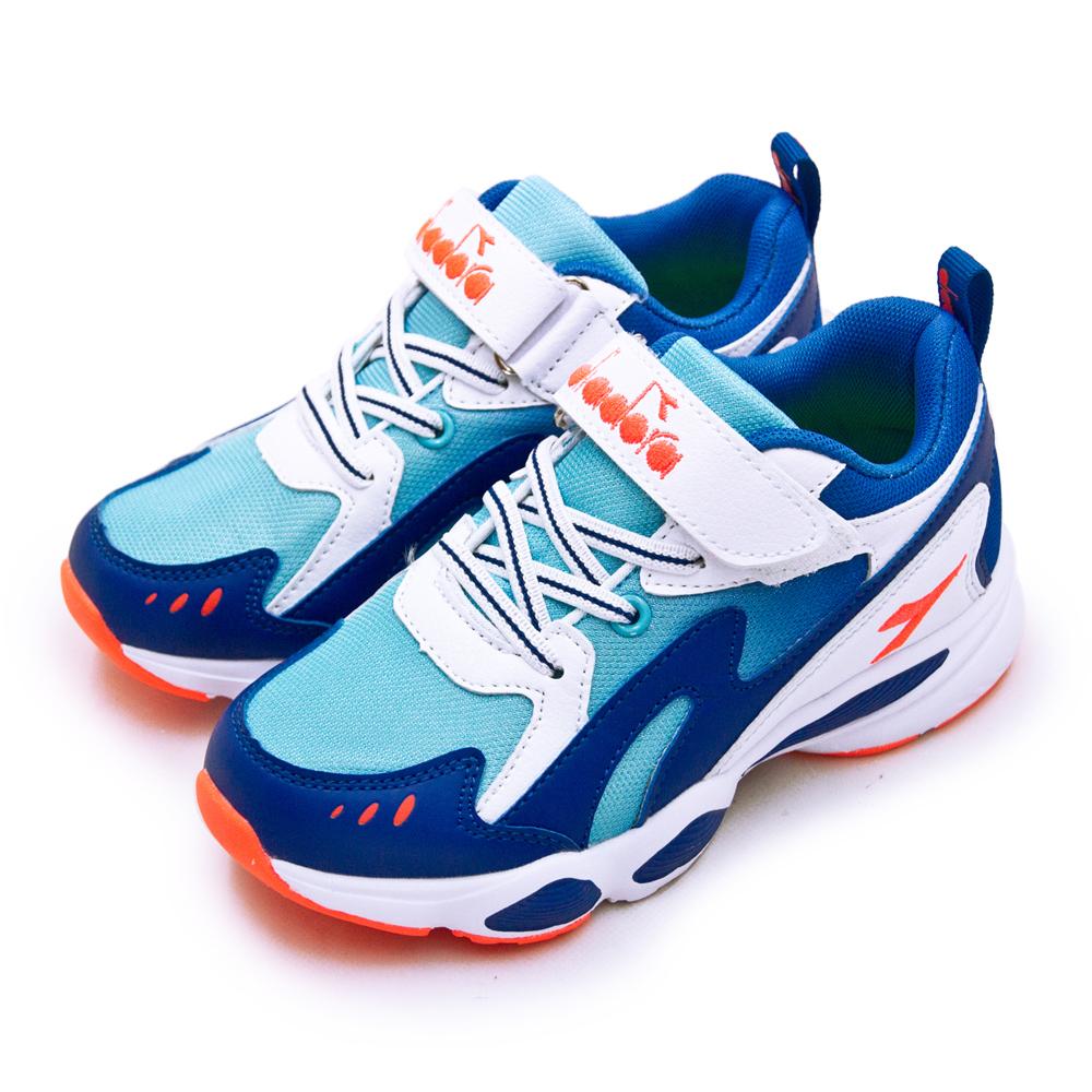【中童】DIADORA 迪亞多那 19cm-23cm 輕量4E寬楦避震慢跑鞋 經典老爹鞋系列 藍白橘 11017