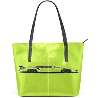 スポーツカー トートバックPU 革 A4収納 トート ショルダーバッグ 大容量 レザー 通勤通学旅行 軽量 レディース メンズ ポケット付き