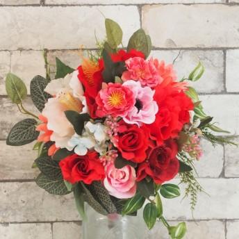 ローズとハイビスカスのピンクレッドブーケ・ブートニアセット(造花) 結婚式 二次会 ナチュラル パーティ アートフラワー