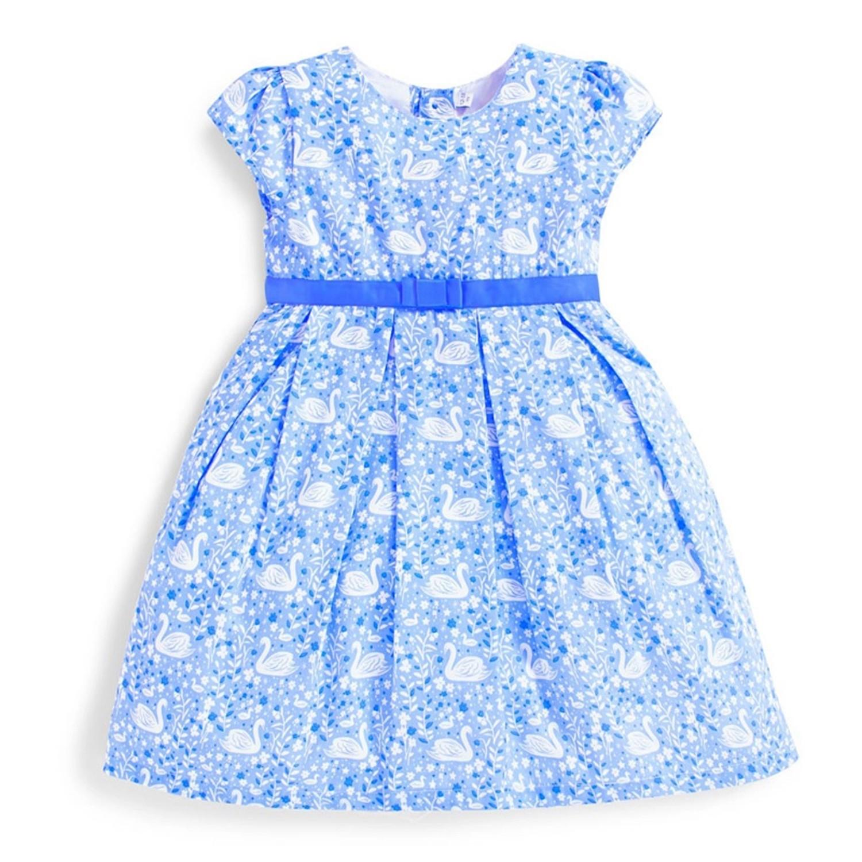 英國 JoJo Maman BeBe - 超優質嬰幼兒/兒童100%純棉短袖洋裝-白天鵝