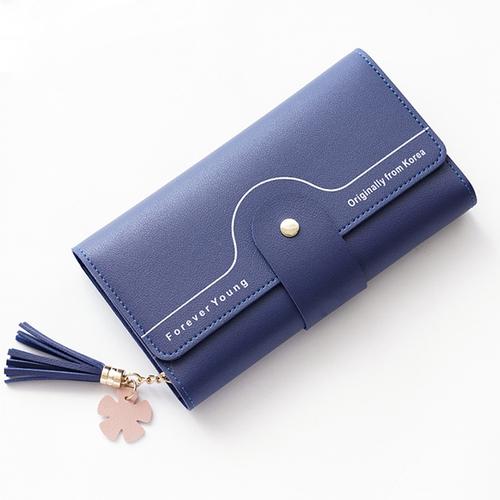 【L.Elegant】花瓣流蘇長夾拉鏈零錢包(共三色)B711