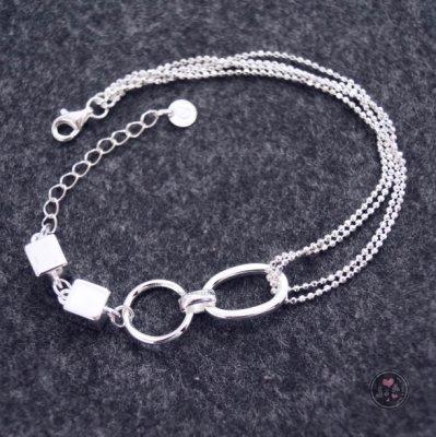 【Jia' s】多圈圈珠珠雙層鍊立體方塊純銀手鍊足銀990。正生純銀