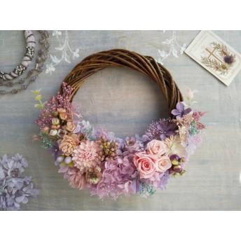 Lune Bonheur<manège>*ハーフムーンリース*プリザーブドフラワー*お花*ギフト*結婚祝い*新築祝い*お誕生日祝い*ウェディング*母の日