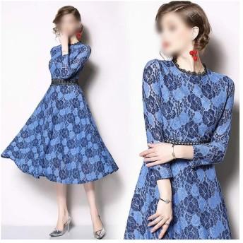 Jtydj 気質スリムフィットかぎ針編みの透かし彫りレースアップレースのドレス (色, サイズ : 3XL)