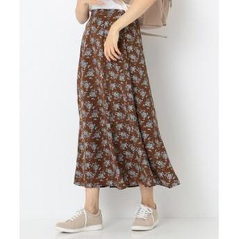 【any SiS:スカート】【洗える】デシンフラワープリント スカート