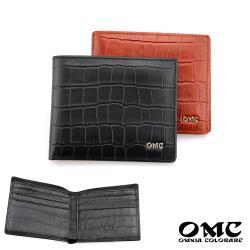 【OMC】8卡尊爵鱷魚壓紋拉鍊袋牛皮短夾(2色)