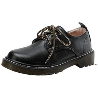 [NUOMK] マーチンシューズ エンジニアシューズ ヒール太め BOOTS ワークブーツ 23.0cm 定番 ワークシューズ カジュアル ショートブーツ 男女兼用 ブラック レディース 革靴 レースアップシューズ おじ靴 オックスフォード 学生靴