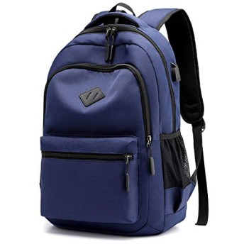 Zhoufulanawf 男女兼用のための偶然のバックパックの再充電可能なバックパックの学生用バッグの無地の防水バックパック (Color : Blue, Size : 314515cm)
