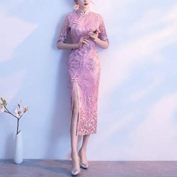 ドレス チャイナドレス、サイズの改善HYF凛とした雰囲気:XL(ピンク) (色 : Pink, Size : XL)