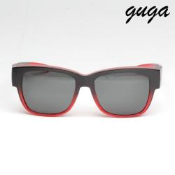 【GUGA】粗框霧面黑紅漸層中性時尚偏光掛套式墨鏡/太陽眼鏡(J1314-3-漸層黑紅框灰片)