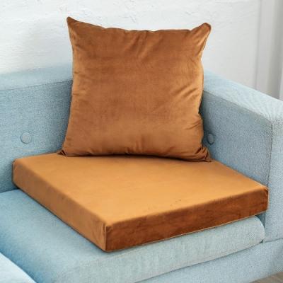 凱蕾絲帝 高支撐記憶聚合加厚絨布坐墊/沙發墊/實木椅墊55x55cm-咖啡(一入)