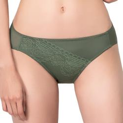 思薇爾 奧羅拉系列M-XL蕾絲低腰三角內褲(莫棕綠)