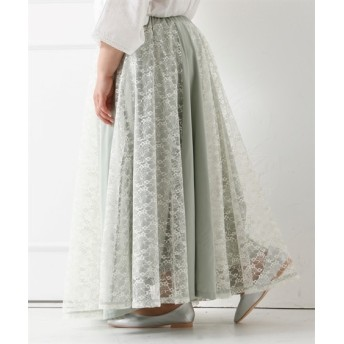 ロング丈レース切替スカート (大きいサイズレディース)スカート, plus size skirts