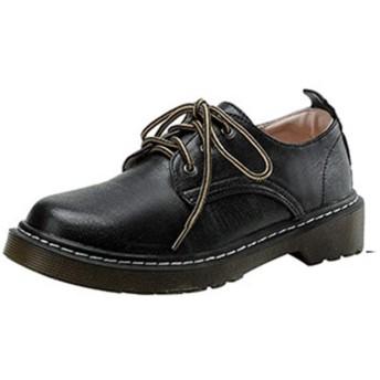 [NUOMK] 厚底 レディース ブラック ローファー レースアップ パンプス オックスフォードシューズ イングランド風 チャンキーヒール 通学 通勤 26.5cm マーチンシューズ メンズ エンジニアシューズ レースアップシューズ ヒール 黒靴