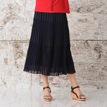 【NEW】リリアンビューティー(Liliane Burty)/シルク風シフォン 三段プリーツオールゴムスカート