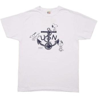Buzz Rickson's バズリクソンズ #BR78421 BUZZ RICKSON'S×PEANUTS 半袖 プリント Tシャツ『USN』 XXL 101ホワイト