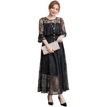 MTKCNTL パーティードレス 結婚式 ロングドレス レディース フォーマル ワンピース レースお呼ばれドレス 花柄 チュールスカート 大きいサイズ フォーマル 二次会 韓国 ファッション (ブラック, L)