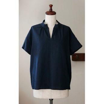 Tシャツ感覚で着られる スタンドカラーのプルオーバー コットンリネン ネイビー(F)