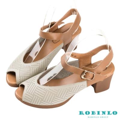 Robinlo甜美圓孔繞踝繫帶魚口中跟涼鞋 米白色