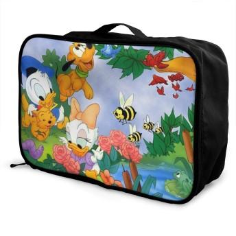 ボストンバッグ ドナルドダック キャリーオンバッグ トラベルバッグ 大容量 厚手 丈夫 荷物 折りたたみ スーツケース固定可 旅行 出張 男女兼用 かわいい おしゃれ