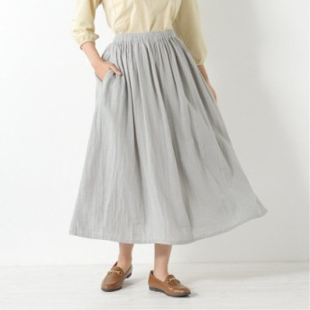 Wガーゼギャザースカート サックス M L