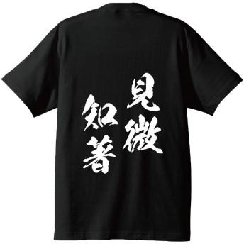 見微知著(けんびちちょ) オリジナル キッズ Tシャツ 書道家が書く プリント Tシャツ 【 四字熟語 】 弐.黒T x 白文字(背面) サイズ:150