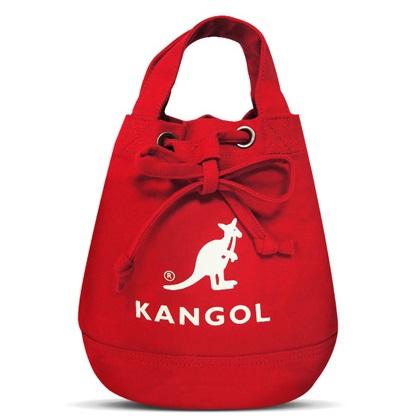 KANGOL 韓版玩色系列 帆布斜背水桶包 AKG1214 棗紅
