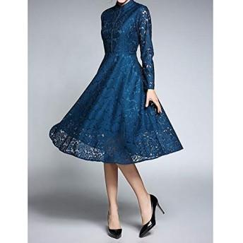 ドレス HYFファッションヴィンテージエレガントなレースドレス(カラー:ブラックサイズ:S) (色 : Blue, Size : One Size)