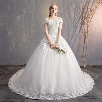 ブライダルウェディングドレス 花嫁のレースのアップリケイブニングドレスVネックストラップガウンのためのブライダルウェディングドレス ウェディングドレス (色 : White, Size : M)