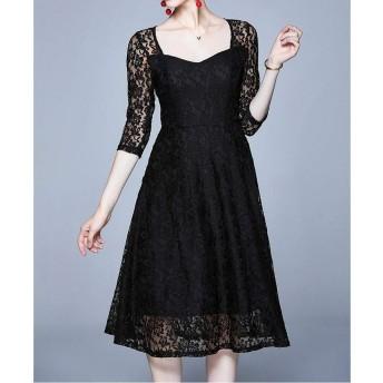 ドレス HYFファッションヴィンテージエレガントなレースドレス(カラー:ブラックサイズ:S) (色 : Black, Size : One Size)