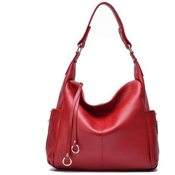 ハンドバッグ 女性のブラックショルダーハンドストラップバッグ通勤用レザートートバッグ 軽量 通勤 (Color : Red)