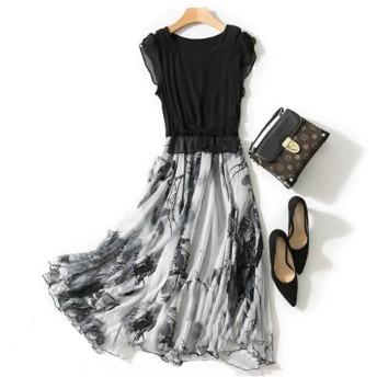 MEIDELE JP シルクのロングスカート、細い墨のプリント、大きなスカート (Color : Black, Size : 3XL)