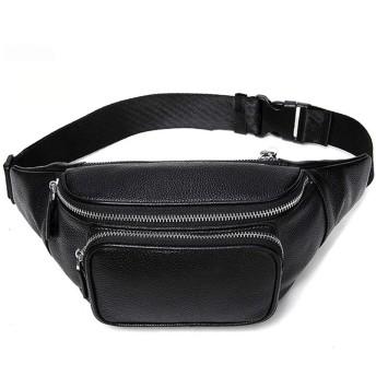 ファニーバッグウエストパックスリングポケット超軽量のために旅行レジ係のボックス黒牛革トラベルポーチ かばんウエストバッグ (Color : Black)