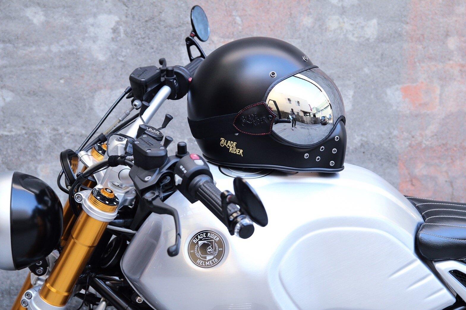 任我行騎士部品 Blade Rider Helmets 泡泡鏡 鬆緊帶 山車帽 復古帽 咖啡 cafe 鏡片 #電鍍銀
