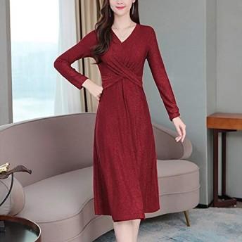 ドレス HYFシンスタイル気質Vネックドレス (色 : Red, Size : M)