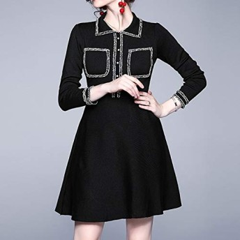 ドレス HYF気質スリムラペルニットAラインワンピース(ブラック) (色 : Black, Size : One Size)
