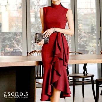 【送料無料】ロングドレス ハイネック ワイン ラッフル リボン ドレイプ ドレス 大人 きれいめ 上品 シンプル シック S M L XL キャバドレス キャバ 二次会 女子会 お呼ばれ ディナー