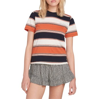 VOLCOM(ボルコム) トップス Tシャツ Volcom Chromatic Stripe T-Shirt Burnt Oran レディース [並行輸入品]