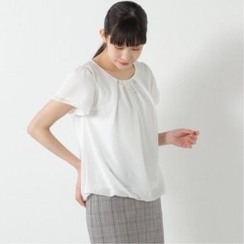 ネックレス付き◎フレア袖で二の腕カバー裾バルーンプルオーバー オフホワイト M L LL