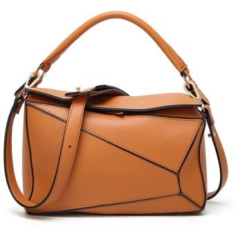 新しいヨーロッパやアメリカのファッションステッチのカラーリングPUレザー枕バッグショルダーメッセンジャーバッグハンドバッグの女性のショルダーバッグ 女性女の子 (色 : Brown)