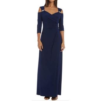 ドレス 女性のエレガントなミニドレスvネックストラップレスロングスリーブハイウエストプリーツスリムロングドレスパーティーのため 女の子のドレス (Color : Blue, Size : M)