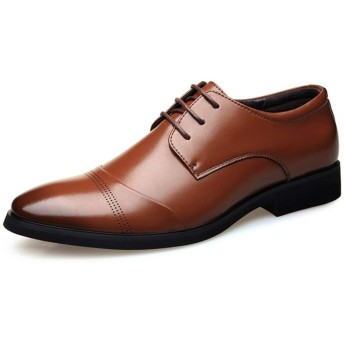 [HSFEO] オックスフォードシューズ メンズ靴 合皮 フェイクレザー ポインテッドトゥ フラット カービング 無地 通気孔 レースアップ 通勤 レセプション 卒業式 カジュアル スタイリッシュ トレンド ビジネス