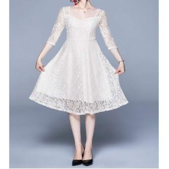 ドレス HYFファッションヴィンテージエレガントなレースドレス(カラー:ブラックサイズ:S) (色 : White, Size : One Size)