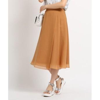 INDIVI/インディヴィ [L]【マシンウォッシュ】ブライトスパンボイル ラップ風スカート キャメル(641) 48(6L)