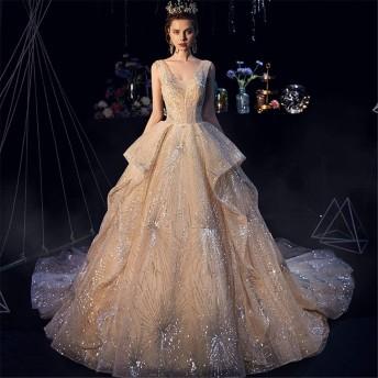 ブライダルウェディングドレス 女性のシフォンレースの床の長さのウェディングドレスシャンパンコート豪華な花嫁衣装 ウェディングドレス (色 : Champagne, Size : M)
