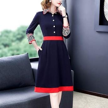 ドレス HYFポロ襟エレガントな気質ドレス、サイズ:S(ダークブルー) (色 : Dark Blue, Size : L)
