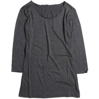 カットソー レディース インナー 七分袖 7分袖 クルーネック tシャツ 春 ゆったり ストレッチ 薄手 シンプル 無地 白 黒 グレー『MAX2点ネコポス配送可』