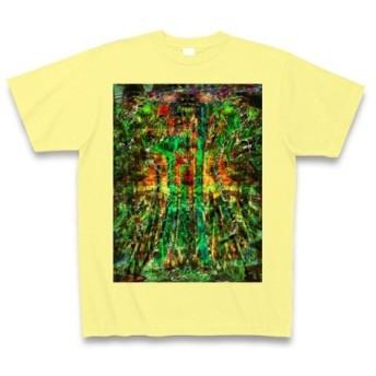 祁◆アート◆文字◆ロゴ◆ヘビーウェイト◆半袖◆Tシャツ◆ライトイエロー◆各サイズ選択可